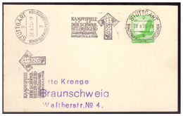 Dt- Reich (006374) Karte Mit Werbestempel Absolut Selten, Kampfspiele Der Schwäb. Hitler Jugend Stuttgart Vom 28.6.1939 - Germany