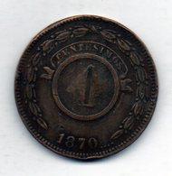 PARAGUAY, 4 Centesimos, Copper, Year 1870, KM #4.1 - Paraguay