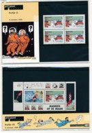 Kuifje - Tintin On A Marché Sur La Lune -  2 Petit Dépliant Avec Timbres ** - émissions 1999 - Comics