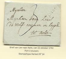 België Lier Voorloper 22 Okt 1792 Port 3 Stuivers  Herlant 14 - 1790-1794 (Rivol. Austriaca E Invasione Francese)