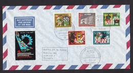 Germany: Airmail Cover To Switzerland, 1963, 5 Stamps, Fairy Tale, Cinderella Label Textile Machine Fair (minor Creases) - Brieven En Documenten