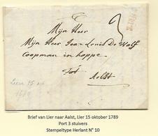 België Lier  Voorloper 15 Okt  1789  Port 3 Stuivers  Herlant 10 - 1789-1790 (Rivol. Brabanzona)