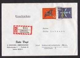 Germany: Registered Cover, 1960s, 2 Stamps, Bird, Airplane, R-label München-Obermenzing (tape At Back) - Brieven En Documenten