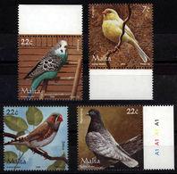 Malta 2006 **MNH Full Birds Subset Canary Budgerigar Zebra Finch Pigeon Alle Vögel Vom Set - Ohne Zuordnung