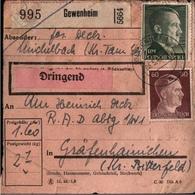 ! 1943 Paketkarte Deutsches Reich, Gewenheim, Michelbach, Elsass, An R.A.D. Gräfenhainichen - Elsass-Lothringen