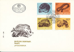 Yugoslavia FDC 4-2-1985 Fossiles Complete Set Of 4 With Cachet - FDC