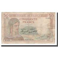 France, 50 Francs, Cérès, 1936, 1936-05-28, B+, Fayette:17.26, KM:81 - 1871-1952 Anciens Francs Circulés Au XXème