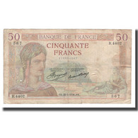 France, 50 Francs, Cérès, 1936, 1936-05-28, B+, Fayette:17.26, KM:81 - 50 F 1934-1940 ''Cérès''