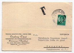 1937 YUGOSLAVIA,SERBIA,BACKI PETROVAC,POSTAGE DUE,ONDREJ CANI,CORRESPONDENCE CARD, - 1931-1941 Kingdom Of Yugoslavia