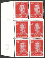 ARGENTINA: GJ.1034, 20c. San Martín, Block Of 6 With STEPPED PERFORATION Variety At Top, Also The Bottom Right Stamp Wit - Argentina