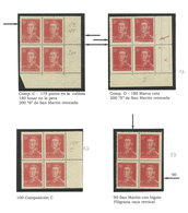ARGENTINA: GJ.1035, 20c. San Martín On Unsurfaced Paper, 2 Exhibition Pages With 4 Blocks Of 4 With Varieties, Very Fine - Argentina