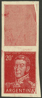 ARGENTINA: GJ.1035CA, 20c. San Martín Printed On Unsurfaced Paper, With Label At Top And IMPERFORATE, Very Rare, VF Qual - Argentina