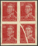 ARGENTINA: GJ.1035P, IMPERFORATE Block Of 4, Also With Notable Paper Fold, Very Fine Quality! - Argentina