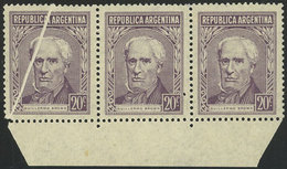 ARGENTINA: GJ.1037d, 20c. Brown, Strip Of 3 On Gaufre Paper (papel Gofrado), The Left Example With Notable PAPER FOLD, V - Argentina