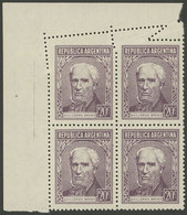 ARGENTINA: GJ.1037, Block Of 4 With Notable Perforation Variety At Top, Fantastic! - Argentina