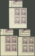 """ARGENTINA: GJ.1037, 3 Blocks Of 4 From Different Printings, One Stamp In Each With """"GVILLERMO"""" Variety (position 161), V - Argentina"""