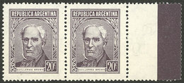 ARGENTINA: GJ.1038CD, 20c. Brown Type C, Pair WITH RIGHT LABEL, VF Quality! - Argentina