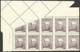ARGENTINA: GJ.1038, 20c. Brown, Corner Block Of 10 With Notable Printing And Perforation Variety Due To Foldover, Leavin - Argentina