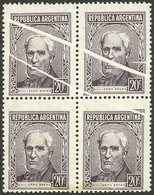 ARGENTINA: GJ.1038, Block Of 4 With Notable PAPER FOLDS, Excellent! - Argentina