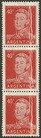 ARGENTINA: GJ.1040, 40c. San Martín, Strip Of 3 With Many PAPER FOLDS, VF! - Argentina