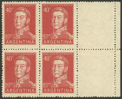 ARGENTINA: GJ.1041CD, Block Of 4 With White RIGHT LABELS, Scarce! - Argentina