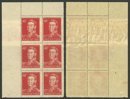 ARGENTINA: GJ.1041, Block Of 6 With END-OF-ROLL DOUBLE PAPER Var., VF Quality! - Argentina