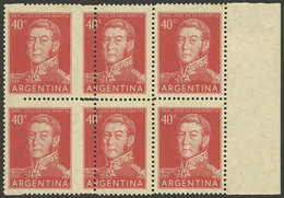 ARGENTINA: GJ.1041, Block Of 6 With Very Shifted Perforation, The Left Stamps Are Much Wider And The Right Examples Are  - Argentina