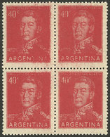 ARGENTINA: GJ.1041, Block Of 4 With Very Inky Impression, Illegible In Several Areas, Fantastic! - Argentina