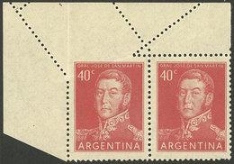 ARGENTINA: GJ.1041, Pair With Spectacular Diagonal Perforation Variety At Top! - Argentina