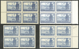 ARGENTINA: GJ.1042 + 1042A + 1042B + 1043, 50c. Port Of Buenos Aires, Blocks Of 4 On Chalky Paper, Imported Unsurfaced P - Argentina