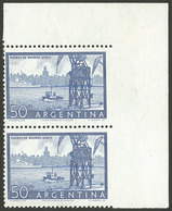 ARGENTINA: GJ.1042, 50c. Port Of Buenos Aires, Corner Pair IMPERFORATE Vertically At Right, Excellent And Very Rare, Onl - Argentina