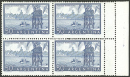 ARGENTINA: GJ.1042, 50c. Port Of Buenos Aires, Block Of 4 With DOUBLE PERFORATION At Right, Creating 2 Small Labels, VF  - Argentina