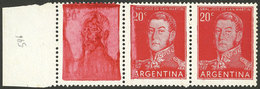 ARGENTINA: GJ.1043b, Strip Of 3, The Left Stamp With VERY DEFECTIVE IMPRESSION, Excellent! - Argentina