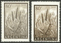 ARGENTINA: GJ.1044A, 80c. Wheat In The Rare GRAY-CHESTNUT Color, MNH, Excellent Quality, Very Scarce. Along A Normal Exa - Argentina