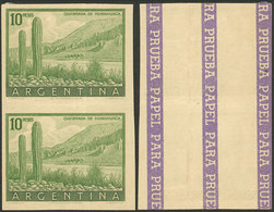 ARGENTINA: GJ.1054, 10P. Humahuaca (cactus), PROOF In The Issued Color, Imperf Pair Printed On Paper For Specimens, Ligh - Argentina