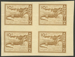 ARGENTINA: GJ.1123, 10c. Yacare Caiman, Imperforate Block Of 4 In Yellowish Chestnut, PROOF Printed On Special Paper For - Argentina