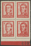 ARGENTINA: GJ.1138, 2P. San Martin In Offset, Block Of 4 With Notable Variety: VERY OILY IMPRESSION In The Left Half! - Argentina