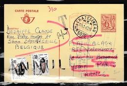 Postkaart Van Chatelineau 1 Naar Paris Met Taksstempel - Belgique