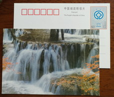 Forest Zhaka Waterfall,China 2000 UNESCO World Heritage Huanglong Scenic And Historic Area Pre-stamped Card - Holidays & Tourism