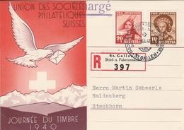 Suisse Carte Recommandée Journée Du Timbre St Gallen 1940 - Marcophilie