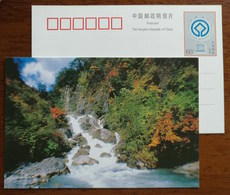 The Red Cloud Gorge Waterfall,China 2000 UNESCO World Heritage Huanglong Scenic And Historic Area Pre-stamped Card - Holidays & Tourism