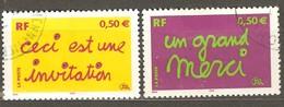 France: Full Set Of 2 Used Stamps, Greetings, 2004, Mi#3780-3781 - Usados
