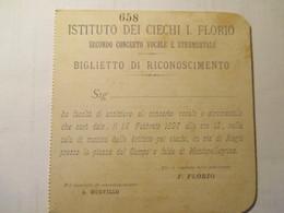 Biglietto Istituto Ciechi Florio 1897 - Biglietti D'ingresso
