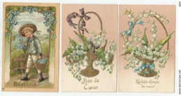 3 Cartes Gaufrées - Souvenir - Don Du Coeur - - Phantasie