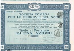 Action Ancienne - Società Romana Per Le Ferrovie Del Nord - Titulo Di 1924 - Chemin De Fer & Tramway
