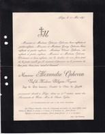 LIEGE OPHOVEN Alexandre Veuf NAGANT Juge De Paix Honoraire 91 Ans 1891 Famille GOUVY CLOCHEREUX - Todesanzeige