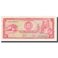 Billet, Pérou, 10 Soles De Oro, 1973, 1973-05-24, KM:100c, TTB+ - Perú