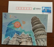 Italia,The Learning Tower Of Pisa,Cathedral Of Pisa,China 2016 G20 Hangzhou Summit Advertising Pre-stamped Card - Eglises Et Cathédrales