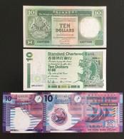 HONG KONG SET 10 10 10 10 DOLLARS BANKNOTES 1990, 1994, 2002, 2007 UNC - Hong Kong