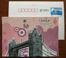 UK London Tower Bridge,Splendid Architecture Landscape G20 Members,CN 16 G20 Hangzhou Summit Advert Pre-stamped Card - Bridges